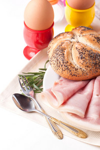 Boiled Eggs,bread,and Ham