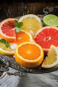 Set Of Sliced Citrus Fruits