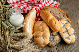 Lot Of Bread With Milk And Wheat
