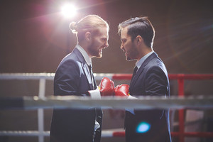 Aggressive Business Boxers Looking At One Another