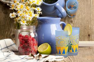 Glasses Of Lemonade And Raspberries