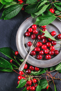 Plate Of Fresh Cherries