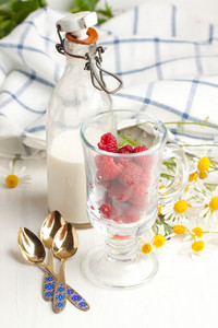 Fresh Ripe Raspberries And Milk