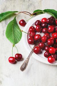 Plate Of Fresh Cherries
