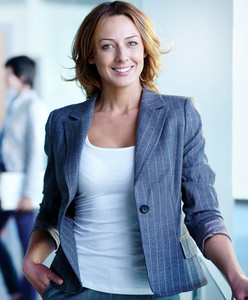 Image Of Pretty Businesswoman Looking At Camera
