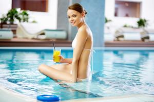 Girl Spending Time In Pool