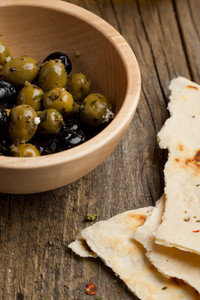 Bowl With Olives And Bread