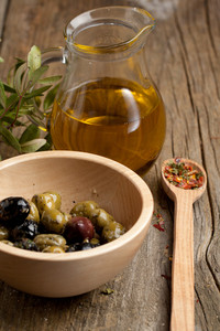 Bowl With Olives And Olive Oil