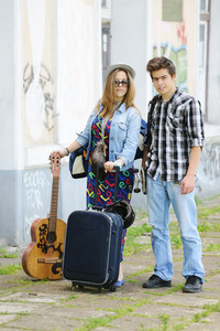 Beautiful couple traveling