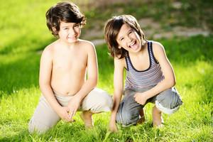 Little boys in a meadow