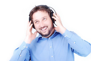 Young young beautiful man with headphones