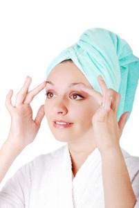 Portrait of a pretty girl wearing towel on her head