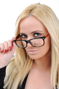 Beautiful blonde girl with her glasses