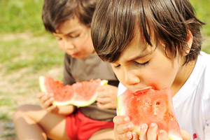 Cute little kid eating watermelon on the grass in summertime