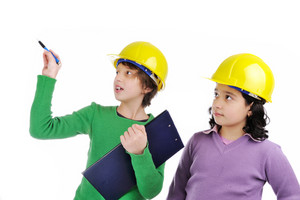Two young female future engineers