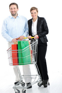 Couple shopping together with cart