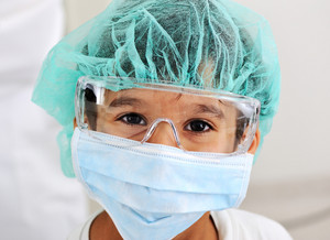 Kid doctor with mask and mask glasses