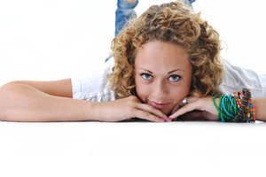 Teen girl lying down