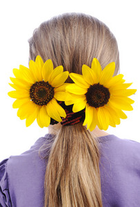 Sunflower on hair