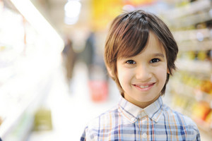 Portrait of a kid in shopping store