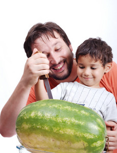 Happy father and kid