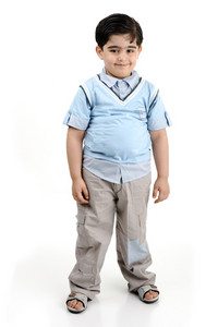 Cute little preschool boy isolated on white