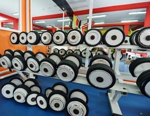 Dumbbells in gym
