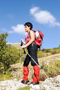 Nordic Walking in Autumn mountains