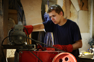 Craft worker working at workshop