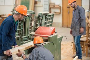 Workers in industrial wood factory