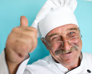 Senior cook with mustache