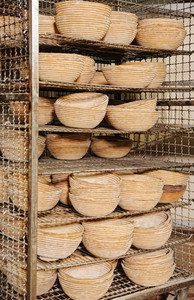 Pots for bread inside the factory