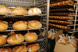 Bread making in factory