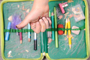 Thumb up over old pencil box