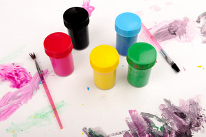 Cans of paint colors