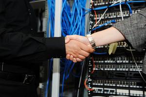 Handshaking at server room
