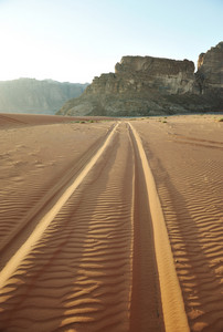 Road in desert of wadi rum in jordan