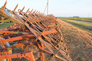 Tine harrow. agricultural machinery and equipment. parking farm machinery.