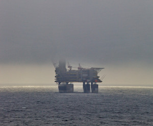 Drilling platform in the sea. drilling of wells on the shelf.