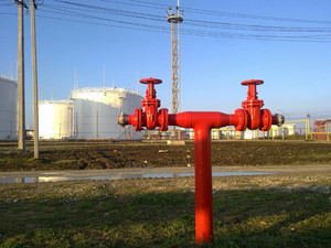 Output pipeline of fire system. a fire extinguishing system at oil refinery.