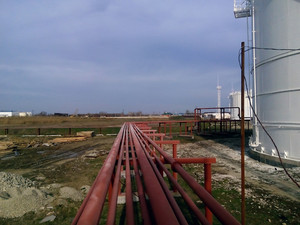 Piping for pumping refined petroleum products. pipes at the refinery.