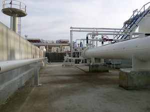 Heat exchanger in a refinery. the equipment for oil refining.