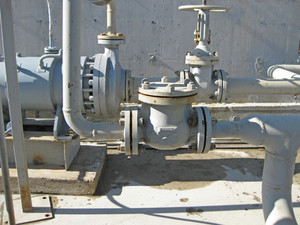 Latch on the pipeline. oil refinery. equipment for primary oil refining.