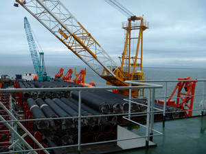 Deck pipe-laying vessel. pipes