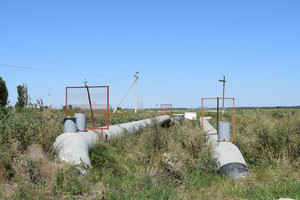 The gas pipeline through the small river. equipment of oil and gas crafts.