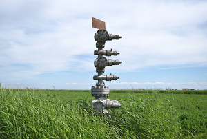 Canned oil well against the sky and field. equipment of an oil well. shutoff valves and service equipment.