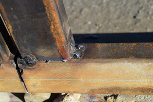Connection by welding of metal square pipes. welding seam.