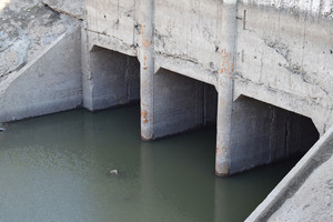 Lock of the channel of irrigating system. agricultural constructions.