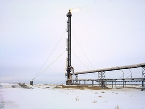 System of a torch on an oil field. area flare system.