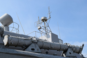 Part of the deck of a warship. military equipment.